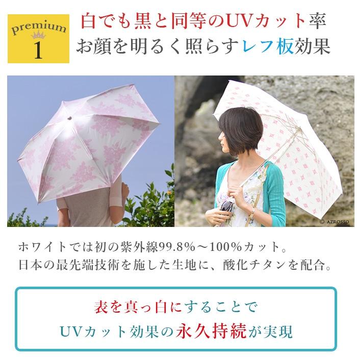 プレミアムホワイト折りたたみ日傘は白でも紫外線カット率ほぼ100%高いUVカット率