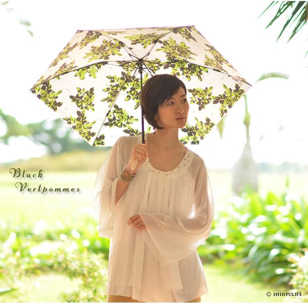 UVカット/白/ホワイト/折りたたみ日傘/プレミアムホワイト/日本製/UVION/ モデル写真 ブラック ヴェールポンム