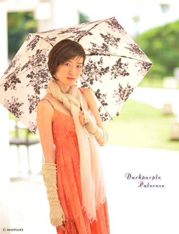 UVカット/白/ホワイト/折りたたみ日傘/プレミアムホワイト/日本製/UVION/ モデル写真ダークパープル ペールローズ