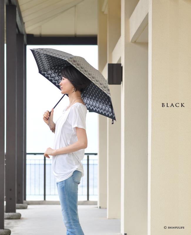 【軽量ミニ50サイズ】シルバーコーティング 折りたたみ日傘 クールなローズ柄の折り畳み日傘/UVION/ブラック/黒/遮熱でひんやり、クールダウン効果/uvカット99%以上/日傘/雨傘/晴雨兼用/完全遮光や1級遮光と違い瞳に安心/母の日/プレゼント モデル画像 ブラック