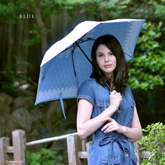 【軽量ミニ50サイズ】シルバーコーティング 折りたたみ日傘 クールなレース柄の折り畳み日傘/UVION/ブラック/黒/遮熱でひんやり、クールダウン効果/uvカット99%以上/日傘/雨傘/晴雨兼用/完全遮光や1級遮光と違い瞳に安心/母の日/プレゼント モデル写真 ブルー1