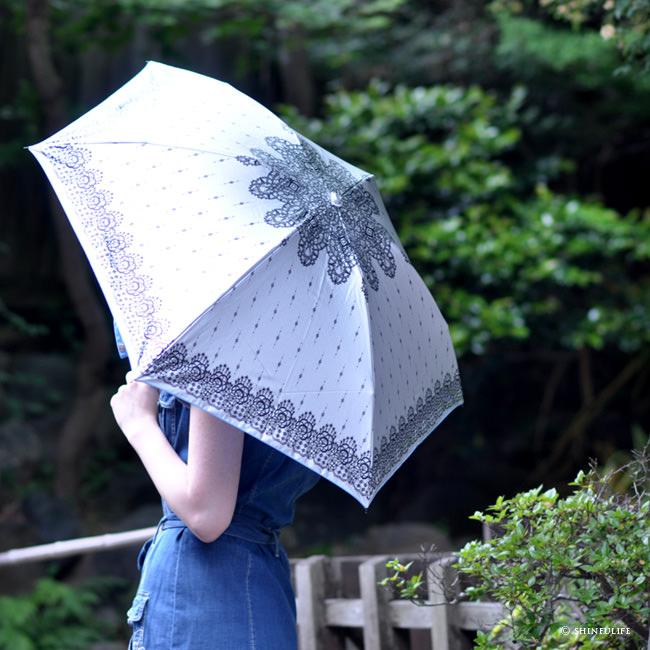 【軽量ミニ50サイズ】シルバーコーティング 折りたたみ日傘 クールなレース柄の折り畳み日傘/UVION/ブラック/黒/遮熱でひんやり、クールダウン効果/uvカット99%以上/日傘/雨傘/晴雨兼用/完全遮光や1級遮光と違い瞳に安心/母の日/プレゼント モデル写真 ブルー2