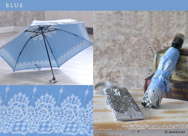 【軽量ミニ50サイズ】シルバーコーティング 折りたたみ日傘 クールなレース柄の折り畳み日傘/UVION/ブラック/黒/遮熱でひんやり、クールダウン効果/uvカット99%以上/日傘/雨傘/晴雨兼用/完全遮光や1級遮光と違い瞳に安心/母の日/プレゼント カラーバリエーション2