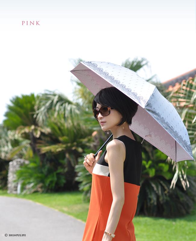 【軽量ミニ50サイズ】シルバーコーティング 折りたたみ日傘 クールなレース柄の折り畳み日傘/UVION/ブラック/黒/遮熱でひんやり、クールダウン効果/uvカット99%以上/日傘/雨傘/晴雨兼用/完全遮光や1級遮光と違い瞳に安心/母の日/プレゼント モデル写真 ピンク1