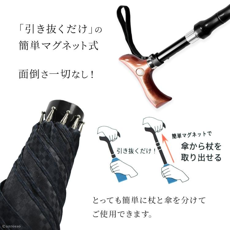 ステッキは3段階調節で長さの変更が可能。ゴムも取り換えできます。